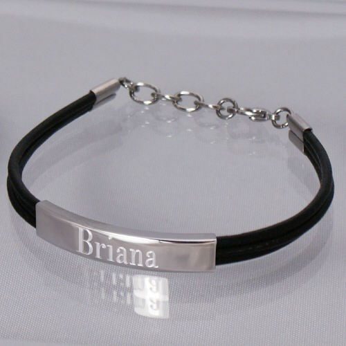 Personalized Leather Bracelet with Stainless Steel Accent
