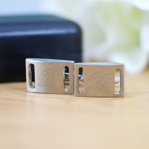 Engraved Silver Cuff Links for Him