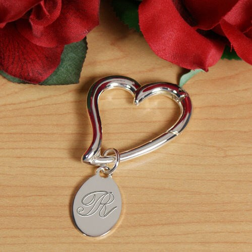 Personalized Initial Heart Keychain