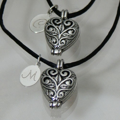 Personalized Sisters Heart Locket Necklace Set