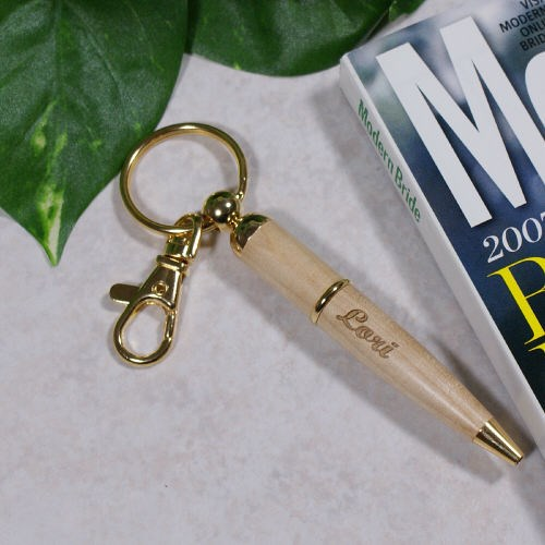Engraved Wood Pen Keychain for Her
