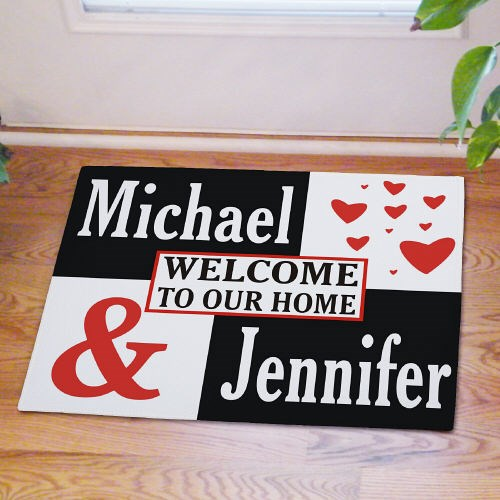 Personalized couples welcome door mat
