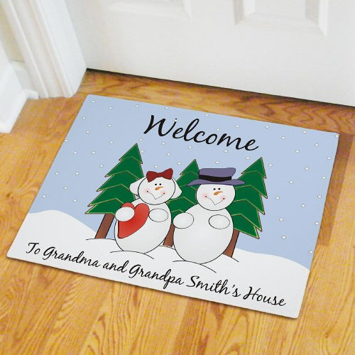 Personalized Snow Family Doormat