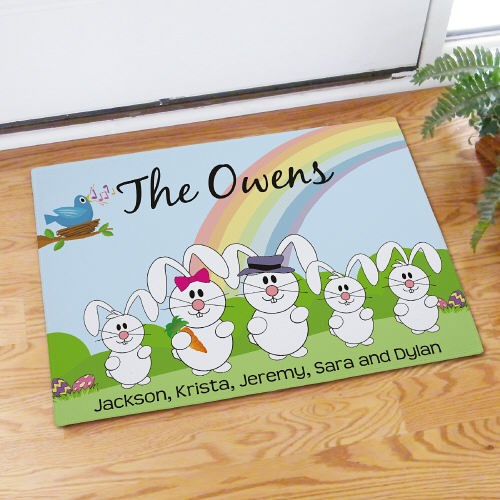 Custom Printed Easter Bunny Family Door Mat