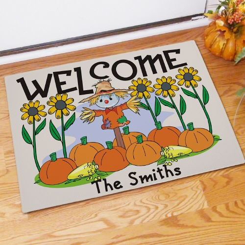 Custom Printed Halloween Scarecrow Welcome Doormat