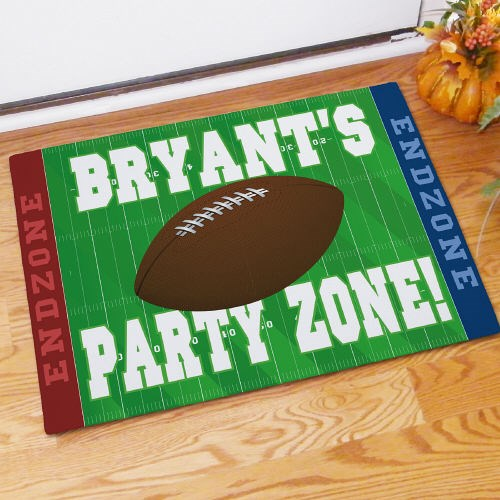 Football Party Zone Personalized Doormat
