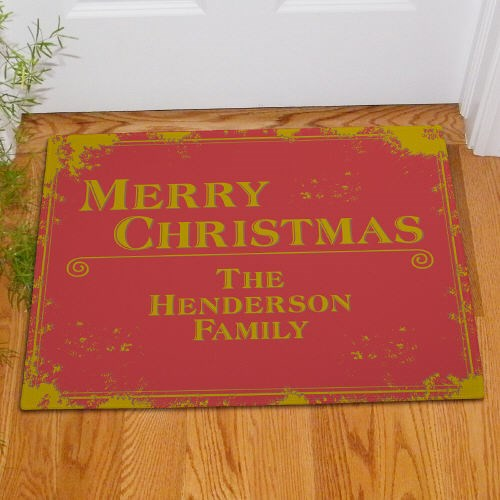Personalized Merry Christmas Door Mats