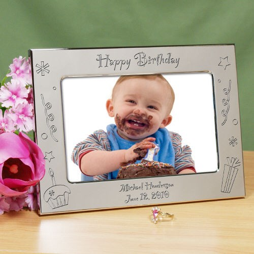 Engraved Happy Birthday Silver Picture Frame