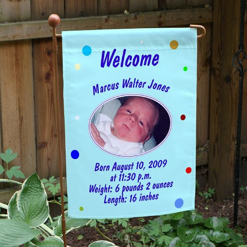 Personalized New Baby Boy Announcement Flag