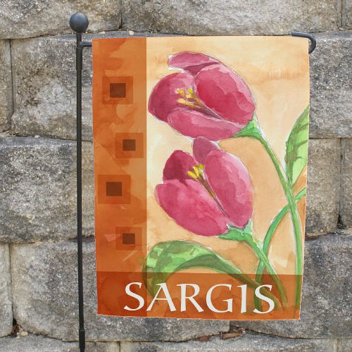 Personalized Red Tulips Welcome Garden Flag 83055432