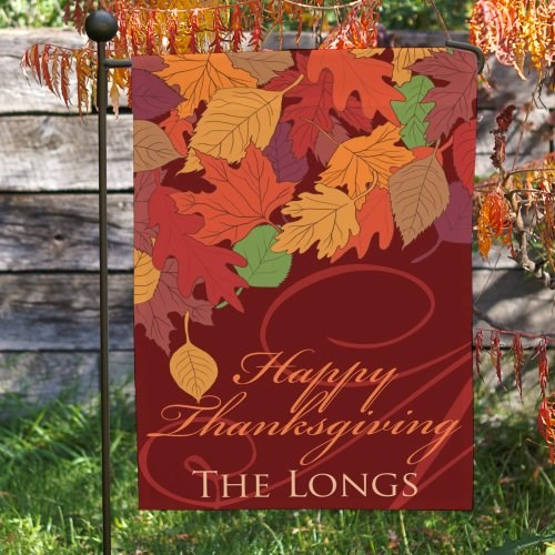 Personalized Fall Leaves Garden Flag 83060372