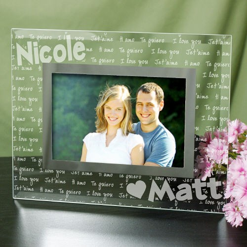 Personalized I Love You Glass Picture Frame