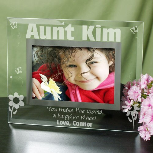 Engraved Happier Place Glass Picture Frame G97681