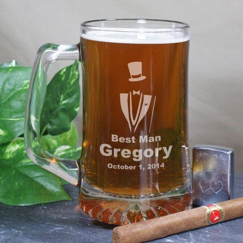 Engraved Groomsman Glass Beer Mug