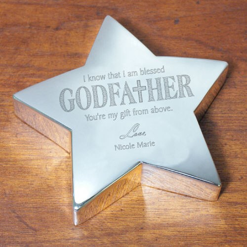 Engraved Godfather Silver Star Keepsake 8526730