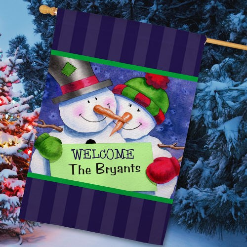 Personalized Snow Couple House Flag 83031482L