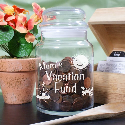 Personalized Vacation Fund Glass Treat Jar