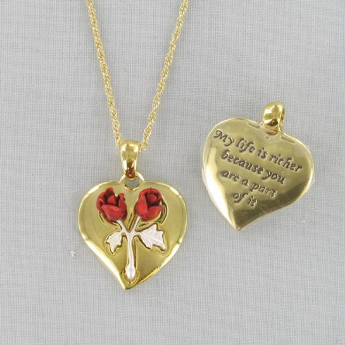 Two Tone Gold Heart Necklace D2DA1158T