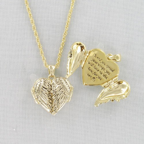 Antique Goldtone Wing Locket Necklace D2DG1119G