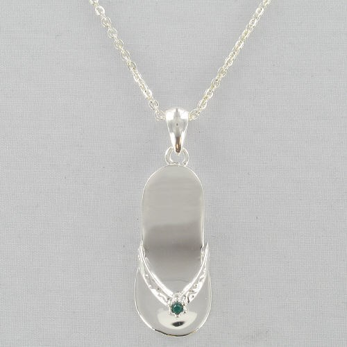Engraved Flip Flop Birthstone Necklace D2DJ1133