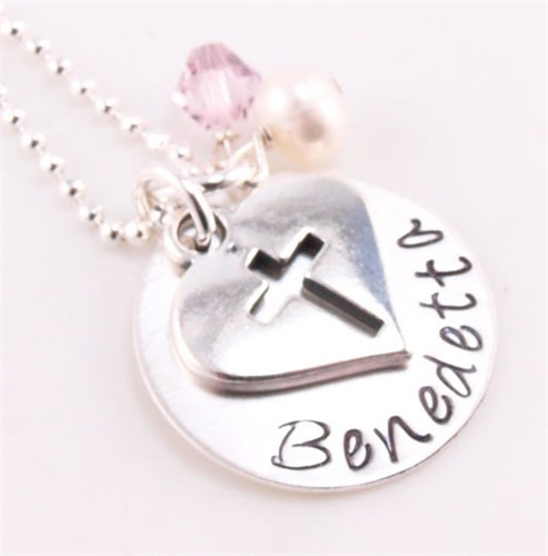 Cross My Heart Hand Stamped Necklace DCF5407