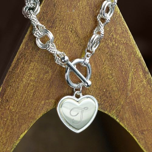 Engraved Infinity and Open Circle Toggle Bracelet J768321