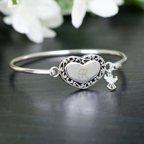 Engraved Angel Bangle Bracelet J768326