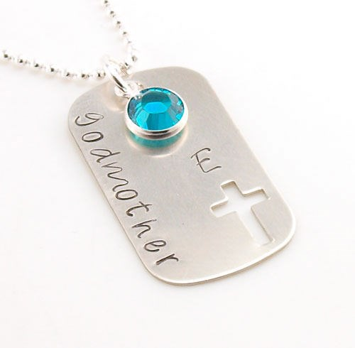 Cross Hand Stamped Dog Tag Necklace DKBDSS72
