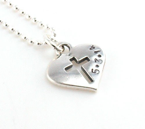 Cross My Heart Dated Hand Stamped Necklace DKHCRSDATE