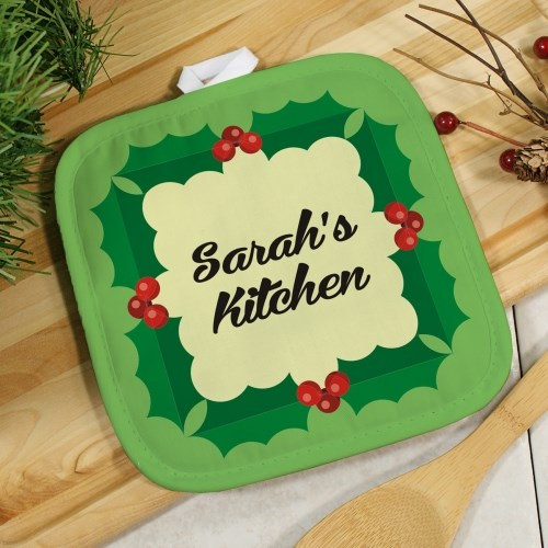 Personalized Holly Leaves Pot Holder U618842