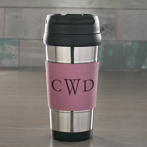 Engraved Initials Pink Leather Travel Mug L10041173