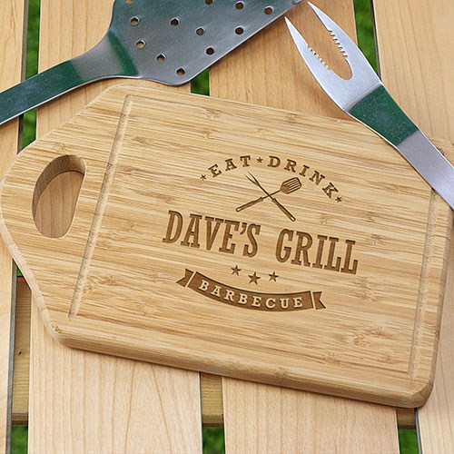 Personalized Eat, Drink, Barbecue Cutting Board L1036330