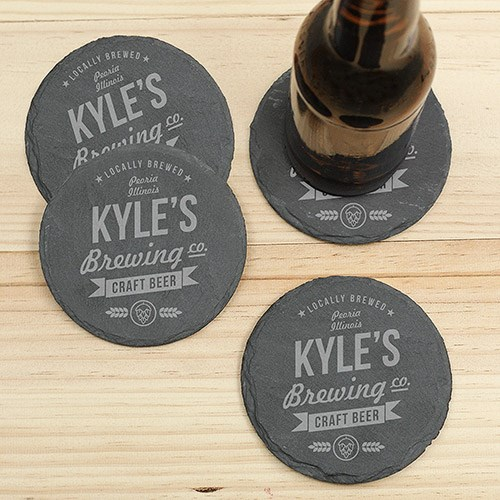 Personalized Craft Beer Brewing Co. Slate Coasters L10368153