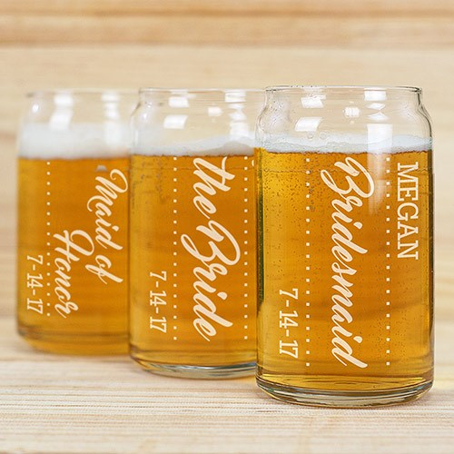 Personalized Bridal Party Beer Can Glass | Personalized Wedding Favors