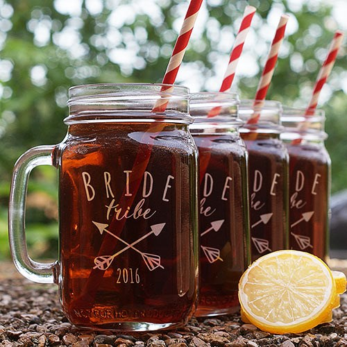 Engraved Bride Tribe Mason Jar L1042271