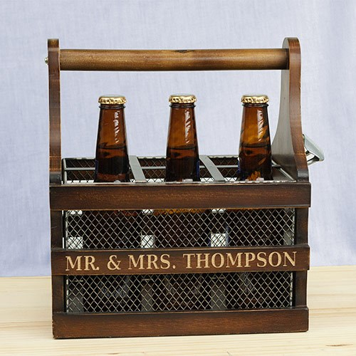 Personalized Wood Wedding Beer Caddy L10484145