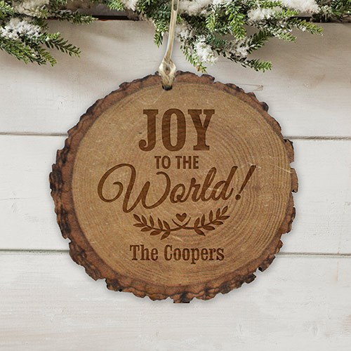 Personalized Joy to the World Rustic Wood Ornament | Christmas Ornaments Personalized