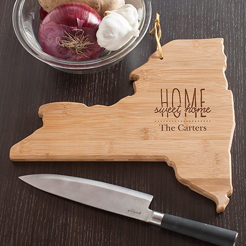Personalized Home Sweet Home New York State Cutting Board L10626165NY