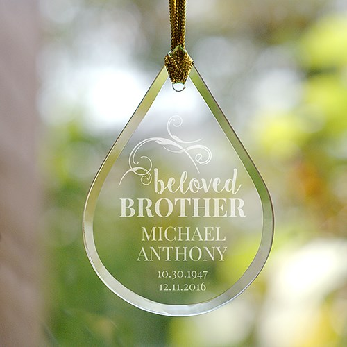 Engraved Memorial Tear Drop Glass Ornament | Memorial Christmas Ornaments