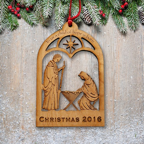 Engraved Wood Manger Ornament L10801171