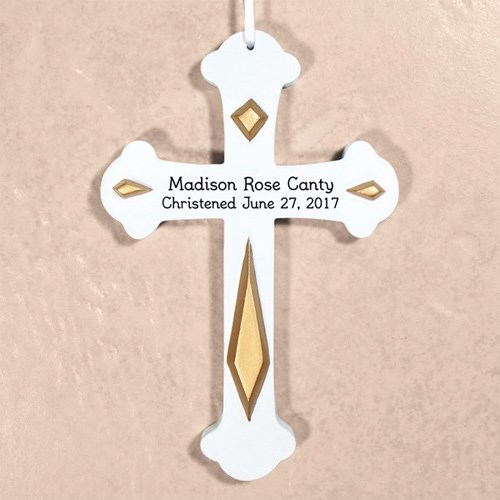 Engraved Christened Wall Cross L379711X