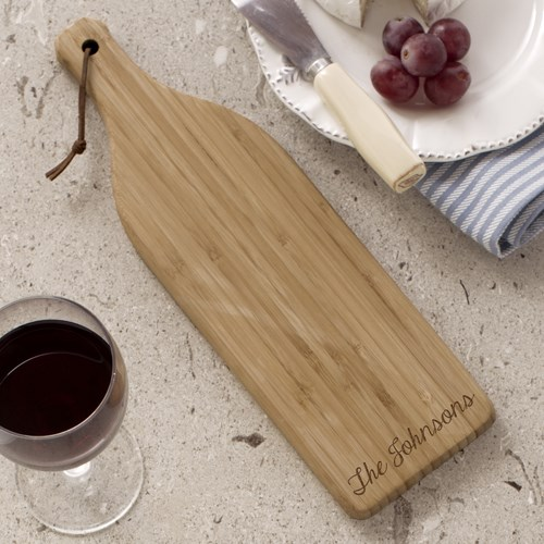 Engraved Bamboo Wine Bottle Cheese Cutting Board L621228