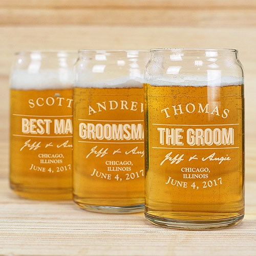 Engraved Groomsmen Beer Can Glass | Personalized Wedding Favors