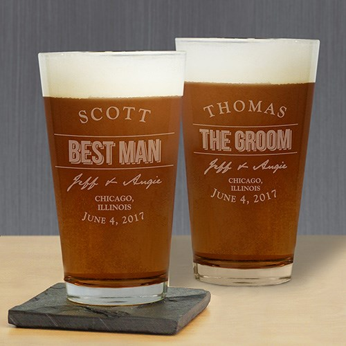 Engraved Groomsmen Beer Glass L7608142