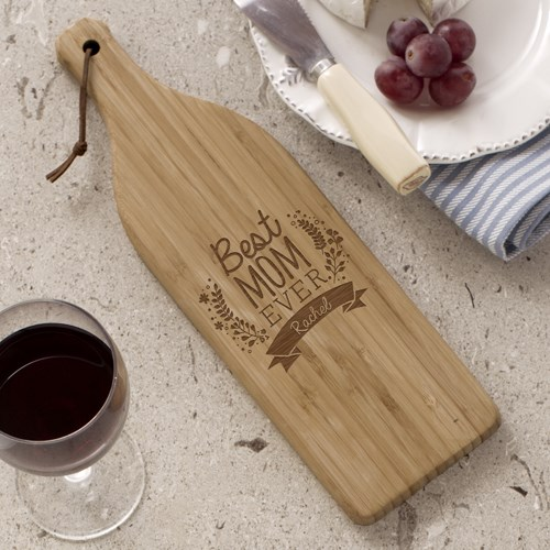 Engraved Best Mom Ever Wine Bottle Cutting Board | Custom Gifts For Mom
