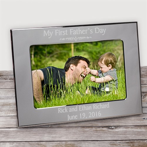 Engraved First Father's Day Silver Picture Frame | Daddy Picture Frames