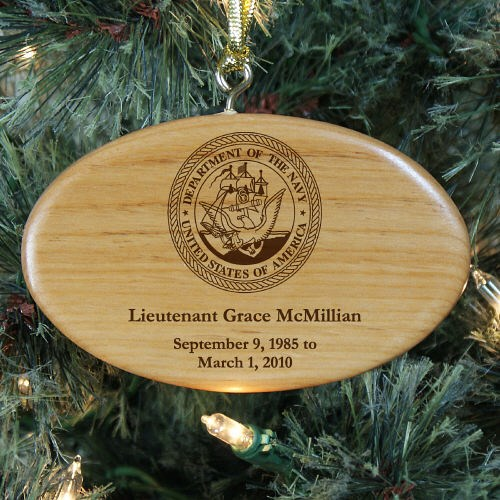 Engraved U.S. Navy Memorial Wooden Oval Ornament W33312