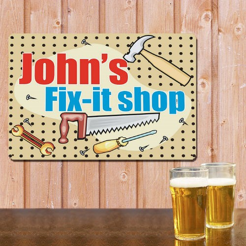 Personalized My Fix It Shop Metal Wall Sign 620954