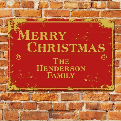 Personalized Merry Christmas Metal Wall Sign