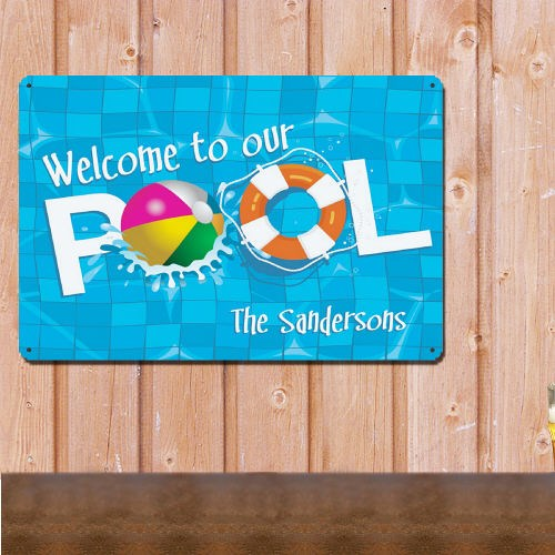 Personalized Welcome To Our Swimming Pool Metal Wall Sign